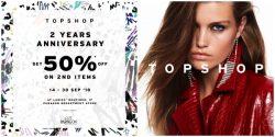 Topshop ซื้อชิ้นที่ 2 ลด 50% ที่สาขาพารากอน (14 – 30 ก.ย. 2561)
