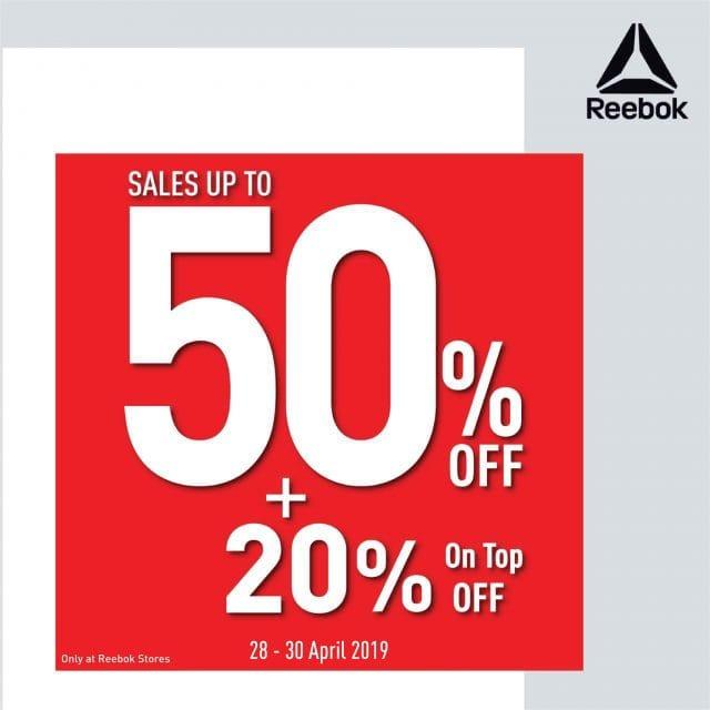 Reebok SALE รีบอค รองเท้า เสื้อผ้า ลด 50% / 1 แถม 1 เดือน กันยายน 2562